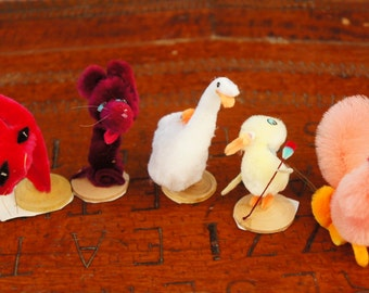 Vintage 50s-60s Chenille Pipe Cleaner Animal Ornaments Woodland Decor Mid Century