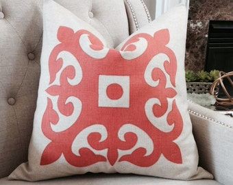 "Orange solid linen appliqué pillow cover - 22""X22""  - Pattern on the front - Made to order"