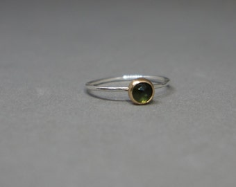 gold, silver and green tourmaline ring  - gold tourmaline ring - silver band rose cut tourmaline - size 7
