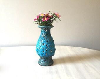 Blue vintage lava vase, fat lava vase, west german pottery vase, blue 70s vase, blue ceramic vase, mid century modern vase, modernist vase