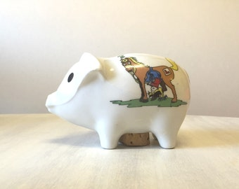 Vintage Piggy bank, coin bank, ceramic piggy bank, vintage coin bank, piggy bank vintage, vintage bank, money box, money bank, nursery decor