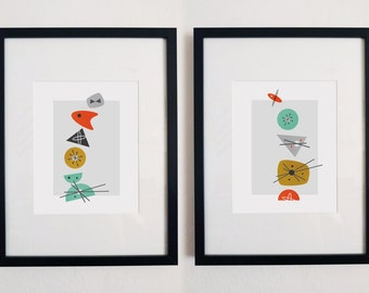 Shape Oddity: Set of One & Two // Mid Century Modern Abstract Art Print