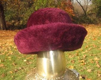 Vintage 1950s Designer Stevens and Company Purple Faux Fur Fedora Style Hat