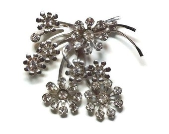 Retro Rhinestone Silver Flower Bouquet Brooch in Prong Set Clear Crystals Floral Design - Vintage 40's Figural Costume Jewelry