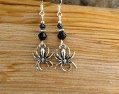 Black Spider Earrings, Black Spider Sterling Silver Earrings, Black Spider Sterling Earrings, Spider Earrings, Silver Spider Earrings