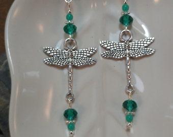 Emerald Green Dragonfly Earrings, Green Dragonfly Sterling Silver Earrings, Dragonfly Silver Dangle Earrings, Silver Dragonfly Earrings