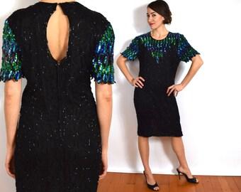 80s Turquoise Sequin Party Dress | Black Silk Beaded Dress, Medium
