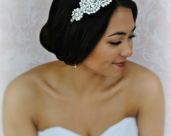Swarovski Crystal Headband, Bridal Headband with Pearls, Silver Art Deco Head Piece - ELEANOR