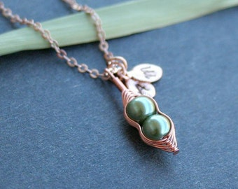 Pea Pod Necklace, Initial Necklace, Peas in a Pod, Rose Gold Pea Pod, Mothers Necklace, Personalized Pea Pod Necklace, Sisters Necklace