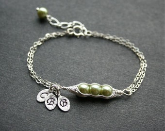 Pea Pod Bracelet, Three Peas in a Pod Bracelet, Peapod Jewelry, Sterling Silver, Mother Gift, Bridesmaids, Three Initial Bracelet, Monogram