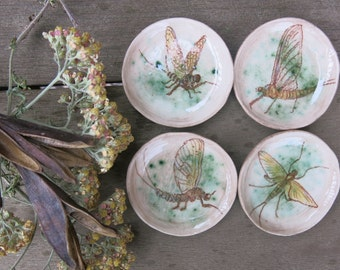 Tiny Trinket Dishes Ceramic Woodland Mayfly Insect Bug Hand Drawn Fine Art One of a Kind Home Decor, Handmade Pottery by Licia Lucas Pfadt