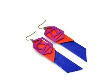 Geometric Earrings, Blue Fringe Leather Earrings, Fuchsia Orange Earrings, Color Block Earrings, Long Statement Earrings, Geometric Jewelry
