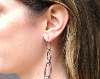 Marquise long chain earrings - oxidized silver