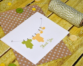 Baby Thank You Note Cards - Baby Clothes Note - Baby Stationery - Baby Notecards