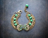 Rhinestone Assemblage Bracelet Peridot Green Vintage Glass Beads Multi Strand Gold Tone Chain Chunky Statement Jade Marbled Glass Leaf