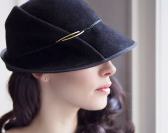 The Safran Felt Cloche Winter Classic Millinery, Made to Measure Hat.