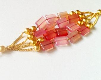 Rose pink agate Bracelet,Egyptian Wrap Bracelet,Pink & Gold Bracelet,Turkish Womens Jewelry,modern Bracelet  by Taneesi