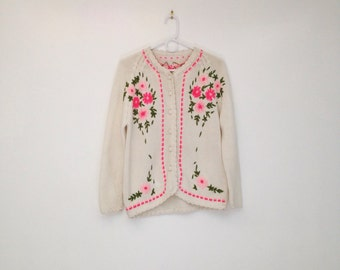 Vintage 1970s Hand Knit Cream and Neon Pink Floral Cardigan