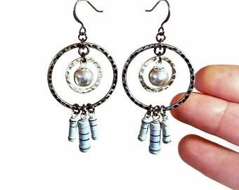 Geeky Fun and Funky Earrings Upcycled  Resistors, Gray Dangle Earrings