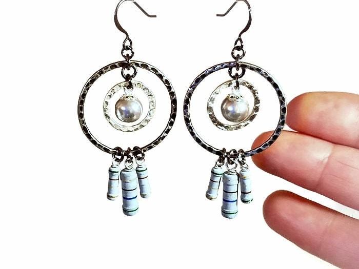 geeky and funky earrings upcycled resistors gray dangle