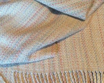 """Pure Silk Scarf, Hand Woven Scarf, Long & Wide, Hand Dyed Silk Striae, Handwoven - 14""""x94"""""""