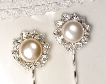 Vintage Ivory Pearl & Rhinestone Bridal Hair Pin PAIR, Vintage Wedding Silver Jeweled Bobby Pins Set 2, 1920s Art Deco Hair Clips Gatsby