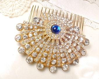 Antique Sapphire Rhinestone Gold Bridal Hair Comb,Vintage Wedding Something Blue Old Hair Piece,1920s Art Deco Cobalt Dress Clip Hairpiece