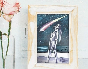 Shooting Star, Colorful Watercolor Painting Original, celestial art, nude, star art, colorful wall art, boho art, cosmic art, tiny art