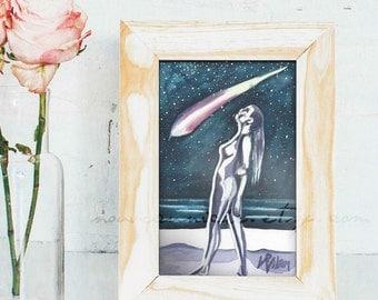 Cosmic Art Shooting Star Art Nude Watercolor Small Original Feminist Art Artistic Nude Starry Sky OOAK Gifts Galaxy Art Inspirational Gifts