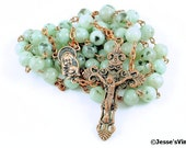 Catholic Rosary Beads Green Black Sesame Jasper Natural Stone Copper Rustic Traditional Five Decade