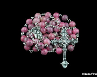 Traditional Rosary Catholic Pink Rhodonite Antique Silver Natural Stone Rosary Bead