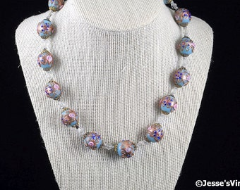 Art Deco Wedding Cake Glass Bead Necklace 1940s Light Blue Flowers Gold Gilt Pink Roses Red
