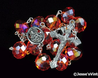 Auto Rosary Pocket Tangerine Orange AB Glass Beads Faceted 1 Decade Silver
