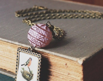 Bird, Egg Nest, Nature, Boho, Soft Pink Vintage Lucite Bead, Necklace