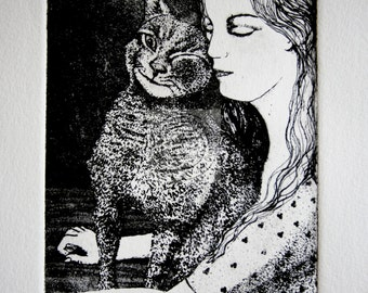 copperplate etching of an Affectionate Cat