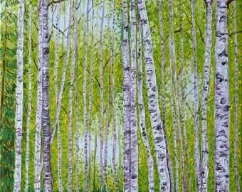 Birch Forest in Autumn, Original Oil Painting, 12 x 16 in.