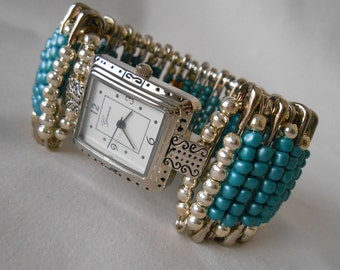 Safety Pin Beaded Watch TealSilver