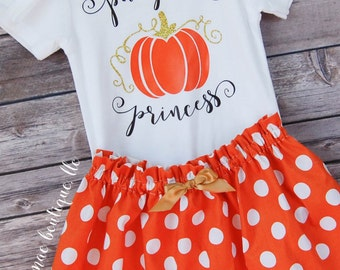 Baby Girl Thanksgiving Fall Outfit; Baby Halloween Outfit; Pumpkin Princess Outfit