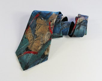 Vintage 70s  Mid Century Modern Abstract Print Multi Color Don Loper Dress Necktie