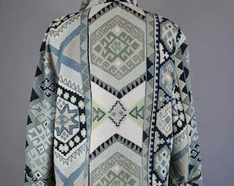 Vintage 80s Women's Navajo Tribal Blue Green Fall Spring Cotton Linen Southwest Modern Prairie Wear to Work Street Style Blazer Jacket