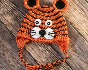 Tiger Hat - Crocheted Tiger Baby Hat - Newborn Photo Prop - Toddler Tiger Hat - Baby Shower Gift - New Baby Gift - Halloween Costume