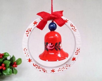 Vintage Christmas Bell Ornament, Hand Painted Wood Miniature Toy Bell Ornament, Vintage Christmas Holiday Decoration