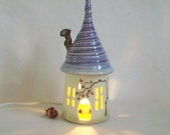 Fairy House/ Night Light / Garden Decor - with Purple/Lilac  Roof - a Hand Painted Rose Vine - With/or Without Electric Cord - Ready to Ship