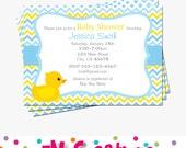 Rubber Duck Party Invitation - Rubber Duck Printable Invitation- Rubber Duck Baby Shower Printables - Boy Rubber Duck Invitation