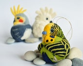 Budgerigar, needle felted bird, green and yellow wool ornament ball, MADE TO ORDER