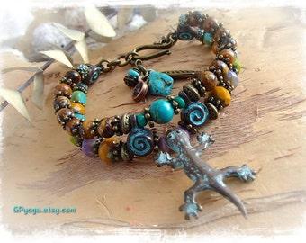 Earthy LIZARD Bracelet Animal Totem Amulet bracelet Tiger Eye Turquoise jewelry Tassel bracelet Gecko Boho Primitive Nature jewelry GPyoga