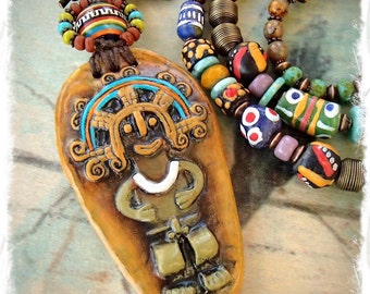 TRIBAL Aztec NECKLACE Mayan God Long chunky necklace Tassel Statement necklace BOHO African Gemstone artisan jewelry Festival Hippie GPyoga