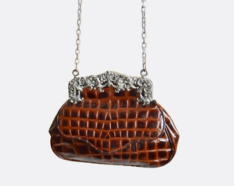 Vintage 90s Ann Turk Metal Frame CROC Embossed PURSE / 1990s Brown Leather Grunge Chain Strap Shoulder Bag