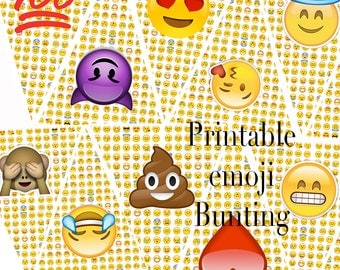 EMOJI Printable Bunting, INSTANT DOWNLOAD,  Teen Birthday Party Banner, Flag Garland, 100, Poop, Monkey, Hysterical Emojis Printable Garland