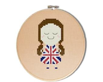 "British cross stitch pattern:""Becky the British Girl""-cross stitch pdf pattern,union jack flag cross stitch, London stitch-INSTANT DOWNLOAD"